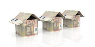casas euro de la representación 3d en el fondo blanco Fotografía de archivo libre de regalías