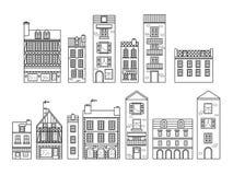 Casas europeas Diversos tamaños y construcciones Casas viejas del vector plano de Europa en líneas libre illustration