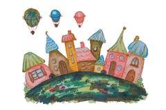 Casas fabulosas em um prado e acima deles balões pintados com marcadores da aquarela em um fundo branco Imagem de Stock Royalty Free