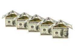 Casas feitas do dinheiro Imagens de Stock