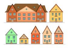 Casas fijadas. Fotografía de archivo