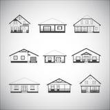 Casas fijadas ilustración del vector