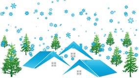Casas, floresta e neve, inverno, vídeo ilustração royalty free