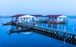 Casas flotantes de Missolonghi foto de archivo