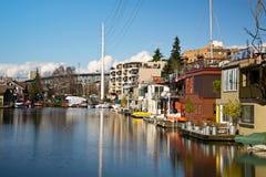 Casas flotantes de Seattle imágenes de archivo libres de regalías