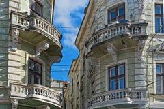 Casas gêmeas em Chernivtsi, Ucrânia Imagens de Stock