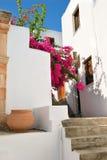 Casas gregas tradicionais em Lindos Imagens de Stock Royalty Free