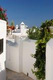 Casas gregas tradicionais em Lindos Fotografia de Stock Royalty Free