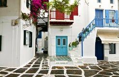 Casas griegas en la isla de Mykonos Foto de archivo libre de regalías