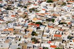 Casas griegas tradicionales en Lindos Fotografía de archivo