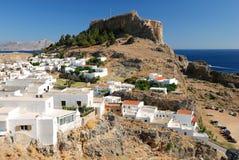 Casas griegas tradicionales en Lindos Fotografía de archivo libre de regalías