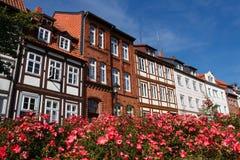Casas Half-Timbered en Hildesheim, Alemania Imagenes de archivo
