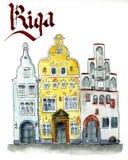 Casas históricas de Riga tres hermanas stock de ilustración