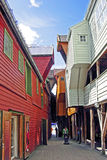 Casas históricas em Bergen (Noruega) foto de stock