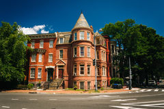 Casas históricas em Logan Circle, em Washington, C.C. fotos de stock royalty free