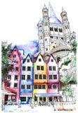 Casas históricas na água de Colônia, Alemanha Imagem de Stock Royalty Free