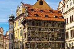 Casas históricas no centro de Praga Imagens de Stock