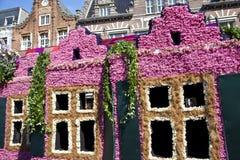 Casas holandesas con las flores Foto de archivo