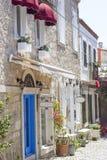 Casas, hotéis e lojas de pedra velhos Fotografia de Stock Royalty Free