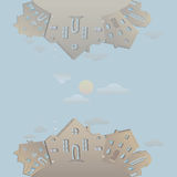 Casas inconsútiles del vintage de la textura Modelo con los edificios viejos para el diseño del papel pintado o del fondo Calle v Imágenes de archivo libres de regalías