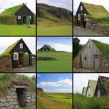 Casas islandesas del césped Fotos de archivo libres de regalías