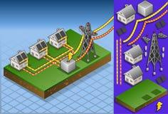 Casas isométricas con los paneles solares Imágenes de archivo libres de regalías