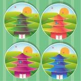 Casas japonesas hermosas y arquitectura stock de ilustración