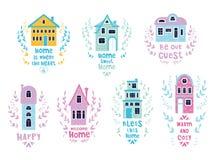 Casas lindas de la historieta stock de ilustración