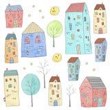 Casas lindas fijadas textura de la acuarela ilustración del vector