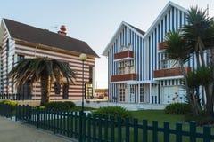Casas listradas em Aveiro, Portugal Fotos de Stock Royalty Free
