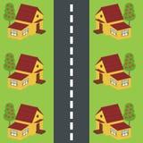 Casas a lo largo del camino Fotografía de archivo libre de regalías