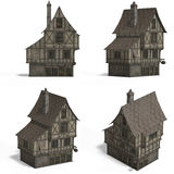 Casas medievais - barra Imagens de Stock