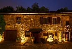 Casas medievales en la noche, Alemania Foto de archivo
