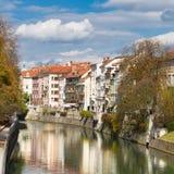 Casas medievales en Ljubljana, Eslovenia Imagen de archivo libre de regalías