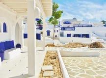 Casas mediterráneas - azul y blanco Fotos de archivo