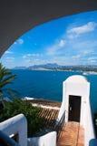 Casas mediterráneas de la opinión de alto ángulo de Moraira Alicante Fotografía de archivo libre de regalías