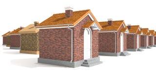 Casas modelo de la arquitectura aisladas en blanco Imagen de archivo