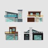 Casas modernas ajustadas ilustração stock