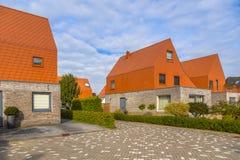 Casas modernas com as telhas de telhado vermelhas impressionantes da ardósia Fotos de Stock Royalty Free