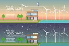 Casas modernas com energia alternativa do verde de Eco Fotografia de Stock