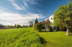 Casas modernas no verde Fotografia de Stock Royalty Free