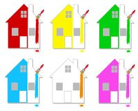 Casas Multicoloured Fotografia de Stock Royalty Free