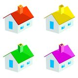 Casas Multicoloured Foto de Stock Royalty Free