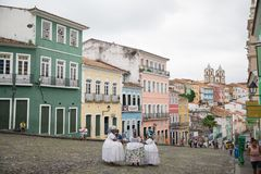 Casas na cidade famosa em Baía, Salvador - Brasil imagem de stock
