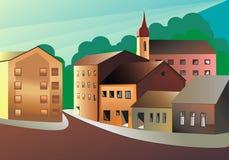 Casas na cidade velha ilustração do vetor