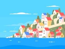 Casas na costa de Grécia ilustração royalty free