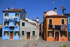 Casas na ilha de Burano Imagens de Stock