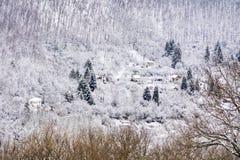 Casas na montanha bonita do inverno fotos de stock