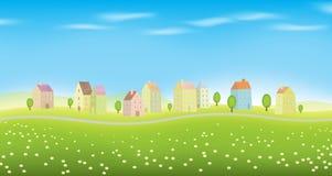 Casas na paisagem ilustração royalty free