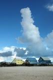 Casas na praia Imagens de Stock Royalty Free